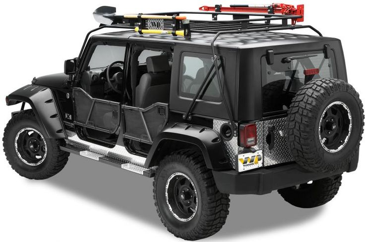 The ultimate in sport racking, the Safari Sport Rack is a semi-permanent, modular system. As its base, two independent crossbars mount at the vehicle's windshield and rear tub areas as supports for lights, small watercraft, and/or a cargo basket. Quick release snapper pin disconnects on each crossbar leg allows them to be easily removed from the vehicle.