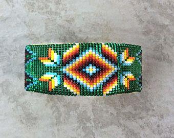 Abalorios pulsera, joyería de Navajo, nativos americanos pulsera, perlas de navajo, joyería indígena, abalorios pulsera brazalete de Navajo, verde