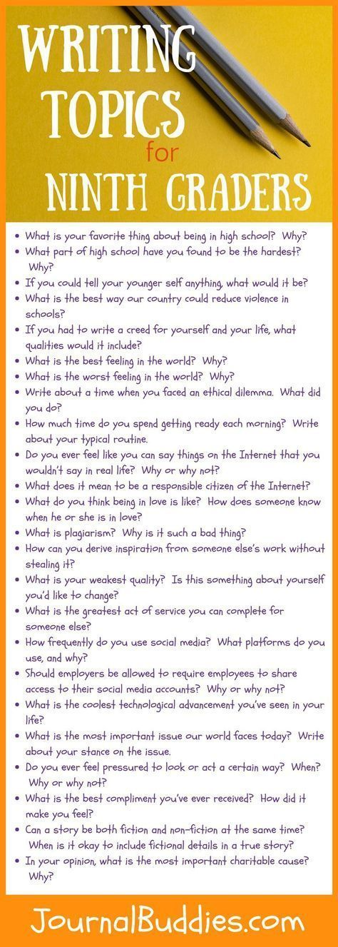 Thoughtful writing topics for ninth grade students. – High School Writing Tips & Prompts