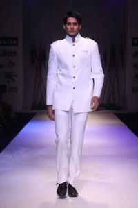 A white bandhgala suit