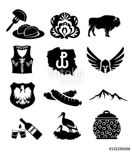 National symbols of Poland - vector icon set bison,collection, country, design, dumpling, eagle, emblem, embroidery, europe, european, famous, flower, folk, food, hussar, icon, knight, mountain, national, pierogi, poland, polish, pot, pottery, sausage, set, shape, shield, sign, slavic, stork, symbol, tasty, traditional, vest, vodka, war, web, west, western, white, żubr, kiełbasa, bolewsławiec, symbole polski, z czego polska sławna, z czego słynie, z czego jest znana, what is poland famous…