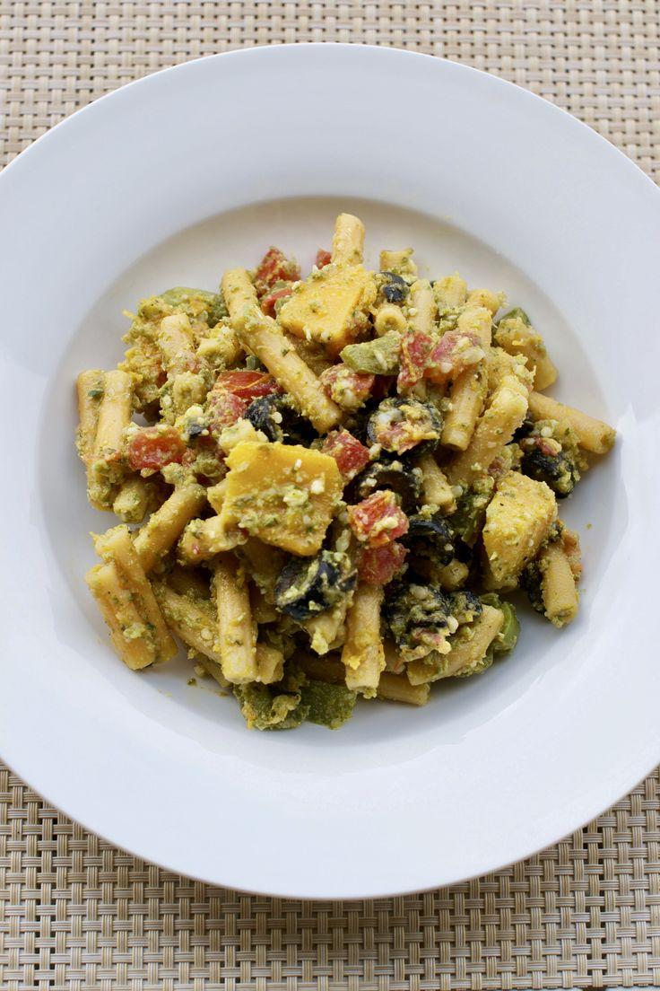 Red lentil pasta with pesto and veggies. #pestopasta #italianhealthyfoods #pasta #gigglegourmet #glutenfree #vegetarian #glutenfreevegetarian