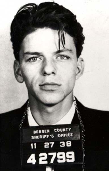 Best mug shot ever taken: Ol Blue Eyes, himself. Frank Sinatra.