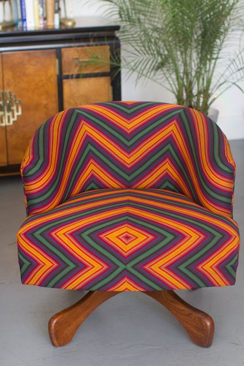 Today's Upholstery 101 project is all about how to upholster a barrel chair in a colorful patterned fabric #diy #fabric #upholstery