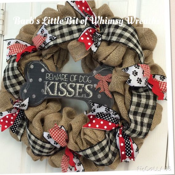 PUPPY Dog Kisses Wreath by lilbitofwhimsywreath on Etsy