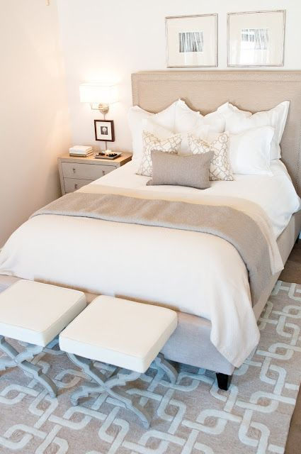 A soothing neutral bedroom...love the trellis patterns and the x-base stools at the foot of the bed! by Ashley Winn Design