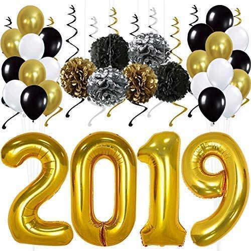 Affiliate Newyears 2019 Gold Balloons Decorations Banner Pack