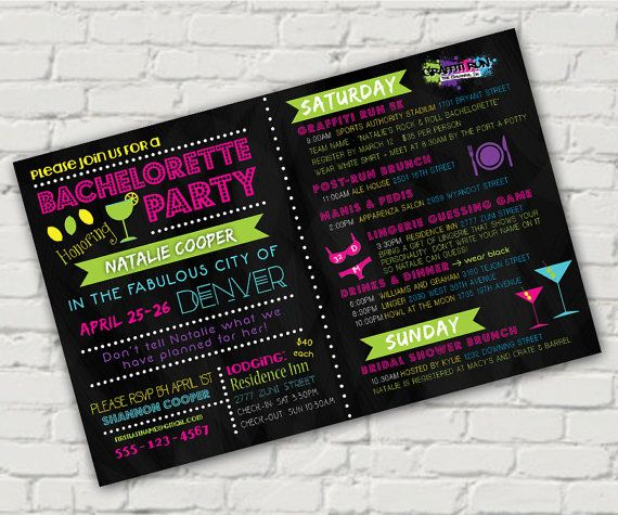 Neon Bachelorette Party Invite  Custom Digital by CMarieGraphics