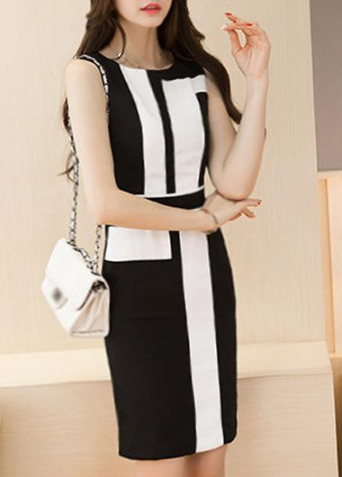 Black and White Color Block Sleeveless Fitted Dress