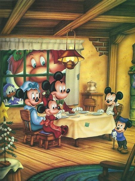 """Mickey's Christmas Carol"" © Disney -by Phil Wilson - watercolor using airbrush - for Children's book"