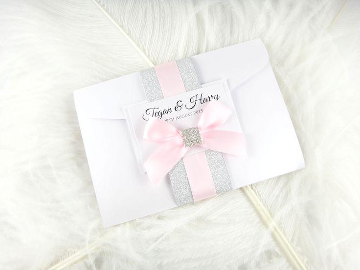 Glitter and bling pocketfold wedding invitation by www.primadonnastationery.com.au