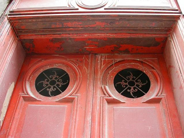 red door with round windows, ParisRed Doors, Double Doors, Round Windows, Red Double, Gardens Gateway