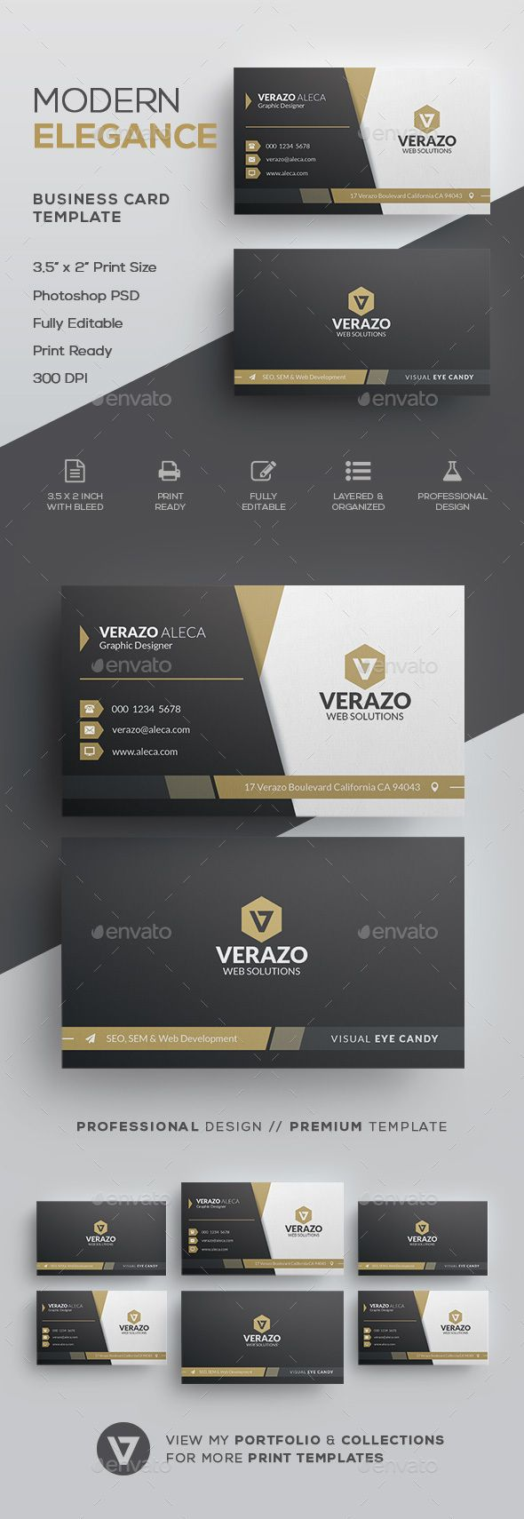 #Elegant Business Card Template - Corporate #Business #Cards Download here: https://graphicriver.net/item/elegant-business-card-template/19691024?ref=alena994