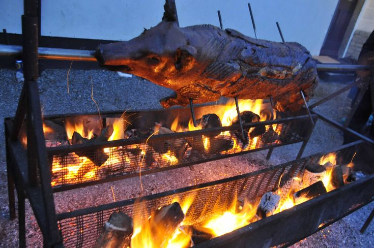 Hog Roast on a Spit. Very popular with our guests.