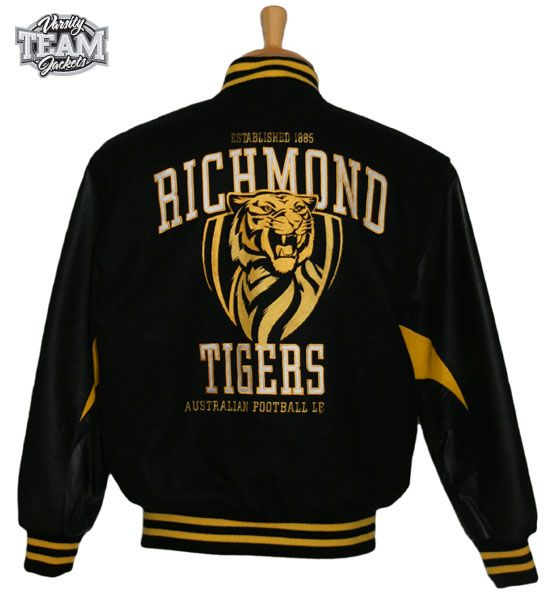 Richmond Tigers AFL wool body and leather sleeves embroidered varsity jacket back by Team Varsity Jackets. www.facebook.com/TeamVarsityJackets  www.teamvarsityjackets.com.au