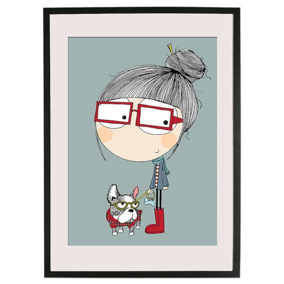 happy. Hipster Dog by Lacajadepintura on Etsy, €15.00