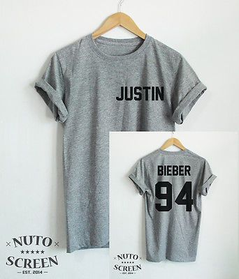 JUSTIN BIEBER SHIRT JUSTIN-BIEBER 94 TSHIRTS 2 SIDES TOP YEAR OF BIRTH CLOTHING