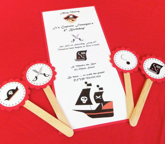 Girl or Boy Pirate Invitation Captain Hook by BloomingEvents, $15.00