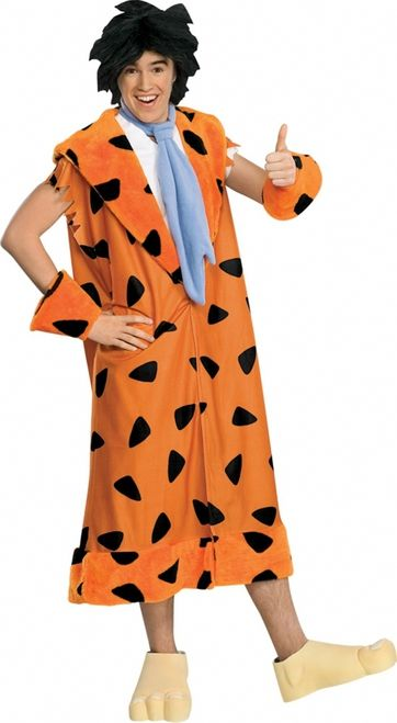 Fred Flintstone Teen Halloween Costume - The trademark cartoon character Fred Flintstone stone ages costume screams yaba daba doo. The costume comes with an over the head tunic jacket with an open V in the front and attached down the bottom. It's orange fleece with black spots and a plush lapel. The costume comes with matching plush wrist cuffs and a blue fleece tie that Velcro's behind the neck. #flintstone #yyc #teen #costume #calgary