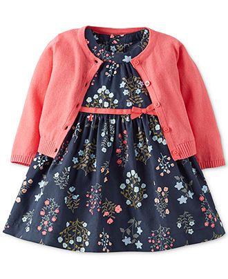 Carter's Baby Girls' 2-Piece Dress & Cardigan Set - Kids - Macy's