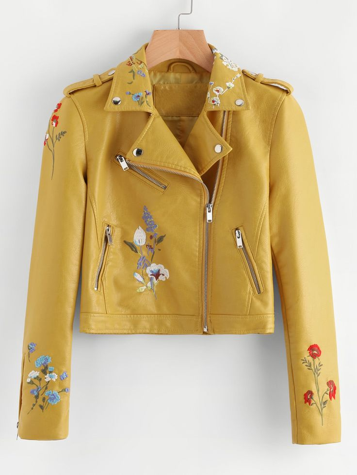£: Botanical Embroidered Zipper Detail Faux Leather Biker Jacket