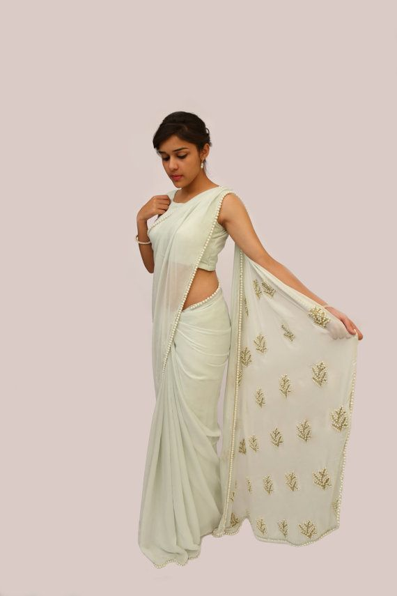 Pearl Embellished Icy Mint Pure Chiffon Saree by EASTANDGRACE
