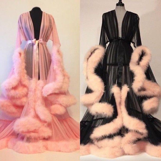 blouse pajamas nightie fluffy flowing elegant robe fluffy satin silk sheer sleep robe vintage dressing gown dramatic feathers dress lingerie nightwear