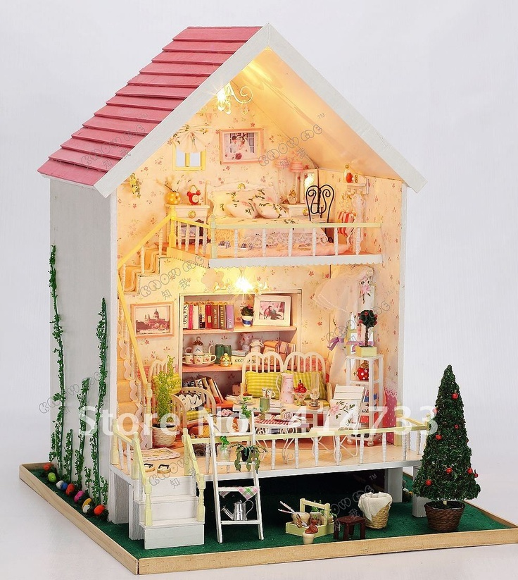 pictures of doll furniture | Music! Wooden doll house w/pig w/light, DIY wooden toy house-in Doll ...