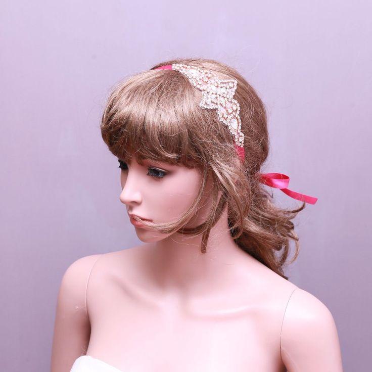 Rhinestone Applique Vintage Style Wedding Headpiece Bridal Crystal Hair Headband #appliqueheadband #weddingheadband