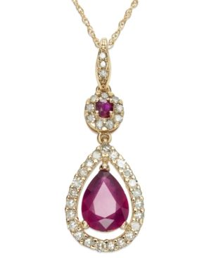 14k Rose Gold Necklace, Ruby (1-1/3 ct. t.w.) and Diamond (1/3 ct. t.w.) Pear Drop Pendant