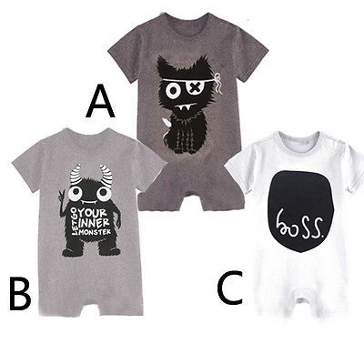 3-24M Newborn Baby Boys Romper Short Sleeve Monster Baby Clothes Fashion Toddle Kids Infant Playsuit Rompers 2016
