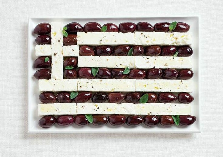 National Flags In Food: Greece (Olives & Feta Cheese)