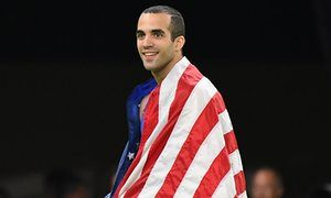 Cuban American Danell Leyva celebrates after winning a silver medal during the men's horizontal bar final.