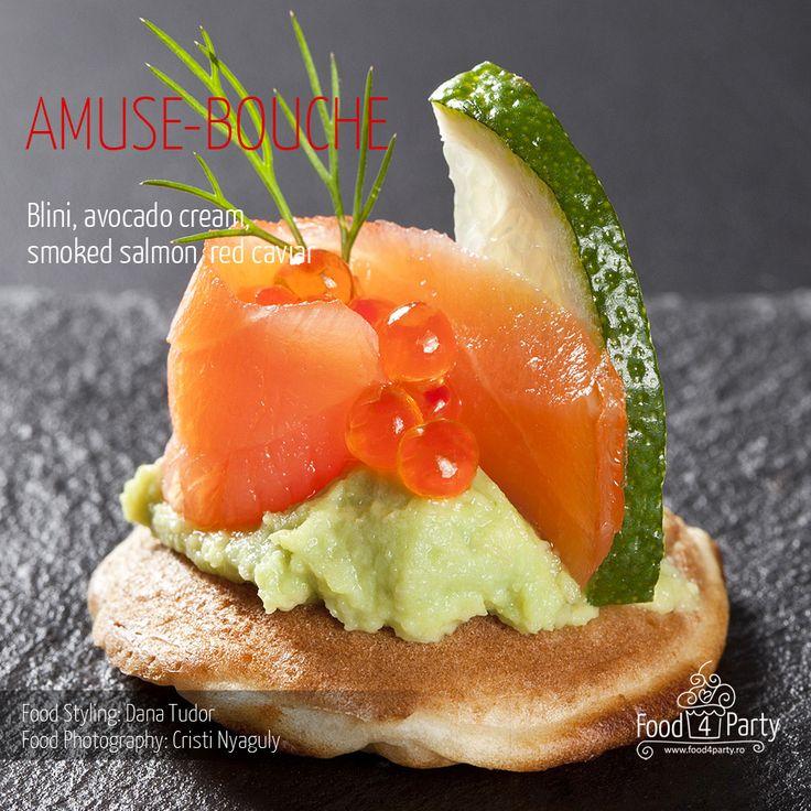 Blini avocado salmon red caviar
