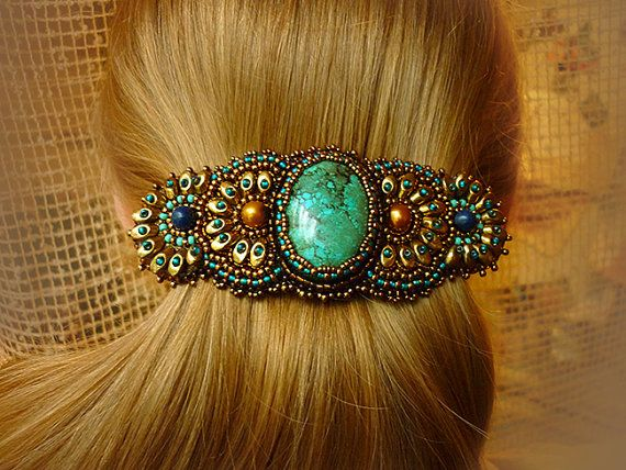 Relax - Hairgrip. Bead Embroidery Art. Turquoise. Hair Clip.. $76.00, via Etsy.