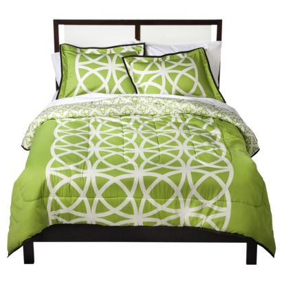 Room 365 Interlocked Circles Duvet Cover Set (quilted comforter shown) - lime green with white pattern - sateen fabric - Target