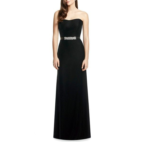 DESSY COLLECTION Embellished Belt Strapless Velvet Gown ($270) ❤ liked on Polyvore featuring dresses, gowns, velvet evening dress, full length gowns, velvet gown, a line evening gowns and strapless dress