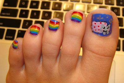 Nyan Cat Toe Nail Art :3