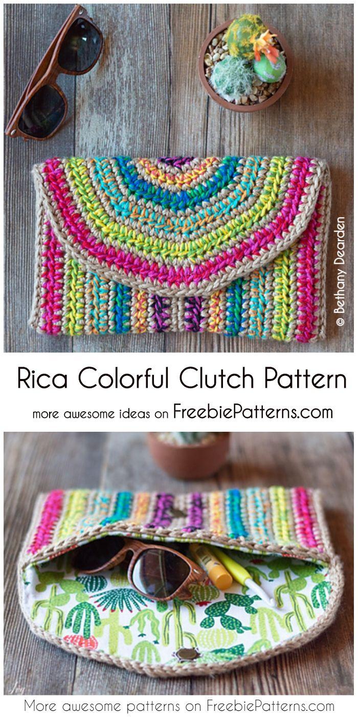Rica Colorful Clutch Free Crochet Pattern Crochet Bag Patterns