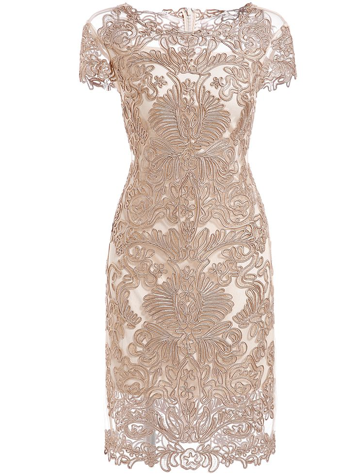 Apricot Round Neck Short Sleeve Bodycon Lace Dress $81.36