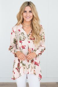 Crochet Detail Floral Print Tunic - Pink Multi