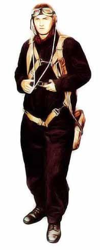 Pilote Belge, 1940 La combinaison de vol existe en un grand nombre de couleurs, dont le blanc. Autour du cou, l'homme porte une écharpe en soie destinée à empêcher la peau de s'irriter lorsqu'il tourne la tête dans tous les sens à la recherche d'appareils ennemis. Le parachute est du modèle des pilotes de chasse.
