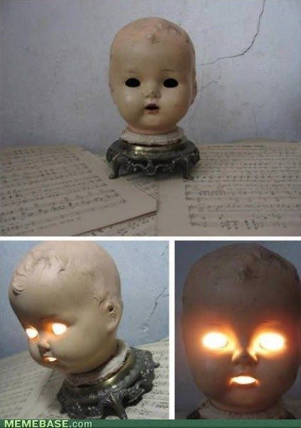 The Perfect Bedside Lamp - bahahahaha! I told you I need dollheads!