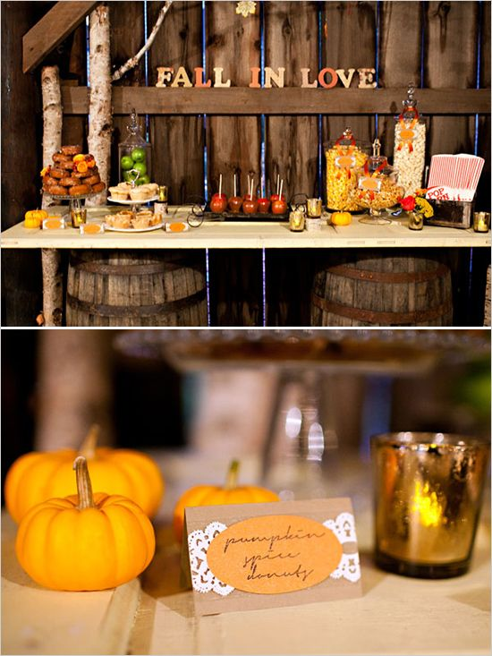 #Fall #Weddings -Pumpkin Spice Donuts and Fall Wedding Buffet Table Ideas.