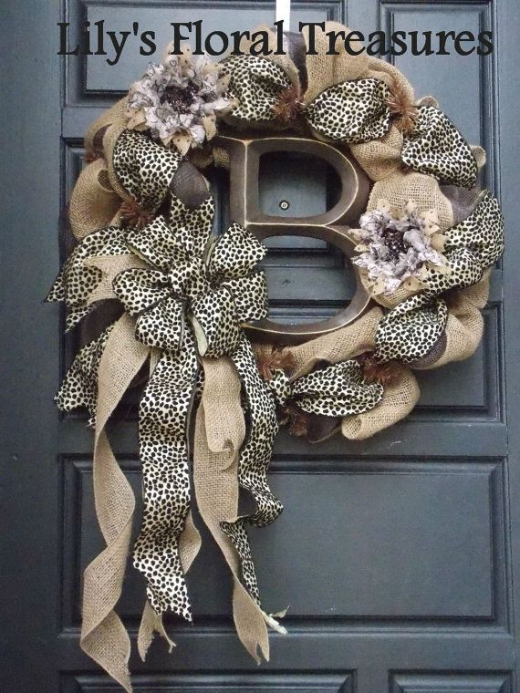 Custom Order Burlap Wreath with Initial by LilysFloralTreasures, $70.00