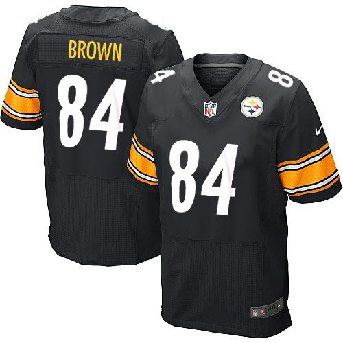 2909c7f24 ... Nike Elite Antonio Brown Black Mens Jersey - Pittsburgh Steelers 84 NFL  Home Women ...