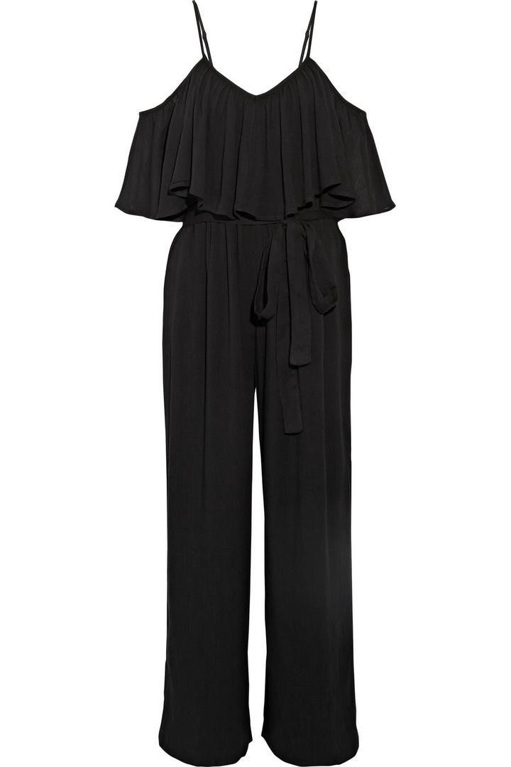 Off-the-shoulder Crinkled-crepe Jumpsuit