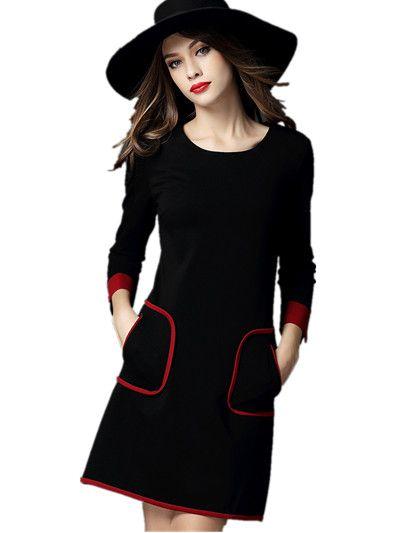 European Brand vestidos 2016 Autumn winter Long sleeve women dress female  black vintage elegant casual robe