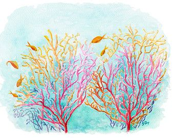 coral reef Murals nursery | sea coral 13x19 watercolor painting fine art print coral wall decor ...