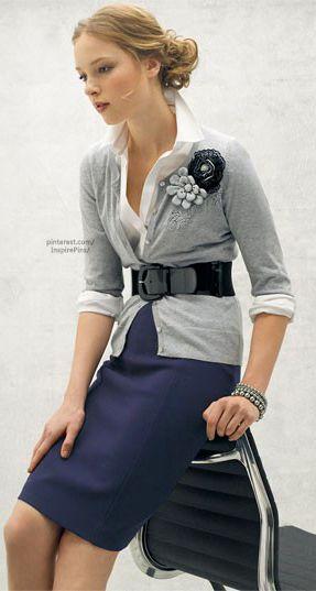 Black cinch belt. Jigsaw shirt. Navy pleated skirt. Whistles navy skirt. Purple flower fabric brooch.